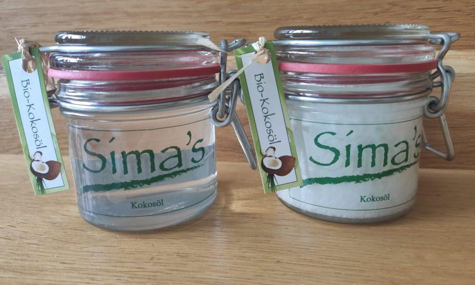 Sima's Kokosöl, einmal geschmolzen und einmal ausgehärtet