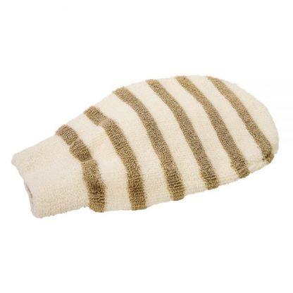 Baumwollhandschuh mit Leinenstreifen