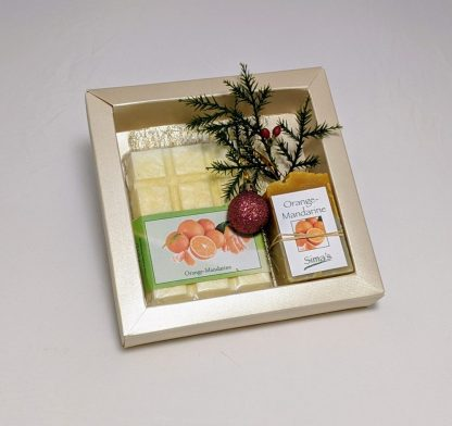 Geschenkset mit Sima's Badeschokolade Orange-Mandarine und der Orange-Mandarinen Seife