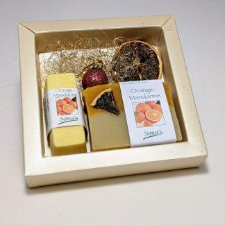 Geschenkset mit Sima's Körperbutter Orange-Mandarine und der Orange-Mandarinen Seife