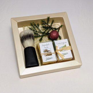 Geschenkset Rasierseife mit Rasierpinsel und 2 verschieden Seifen