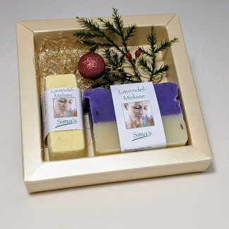 Geschenkset mit Sima's Körperbutter Lavendel-Melisse und der Lavendel-Melissen Seife